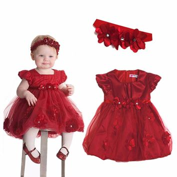 Baby Girls Outfit Party Wedding Princess Flower Fancy Xmas Tutu Dress Headband
