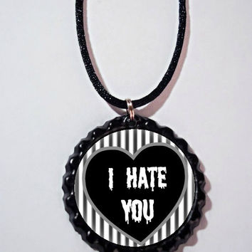 I hate you necklace // black and white striped necklace