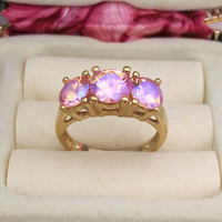 Vintage Gold Plated 925 Sterling Silver Pink AB Crystal Ring Size 9.5 - Sparkly Pink Aurora Borealis Rhinestone Trio - Marked 925 UTC
