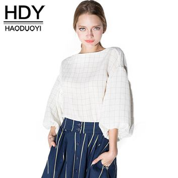 HDY Haoduoyi Fashion Plaid Tops Women Puff Sleeve Female Pullover Tops Preppy Style Sweet Loose O-neck Blouses Shirts