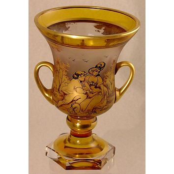 910249 Handled Urn With Gold Painted Lady & Man, Trees, Amber & Crystal Glass Vase