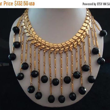 On Sale Vintage Black Glass Crystal Waterfall Bib Statement Necklace Retro Rockabilly Mad Men Mod Old Hollyood Glam Black Tie Jewelry Martin