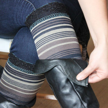 Striped leg warmers, Black coffee beige, Beige boots cuff, Earth colors, Leggings, Women's boots headlines, Women christmas gift