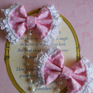 Hair bow and brooch pink polka dot bow with faux pearl beads sweet lolita