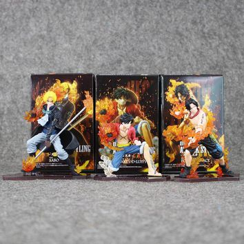 3pcs/lot 14cm Anime One Piece Attack Styling Luffy + Sabo + Ace PVC Action Figures Collectible Model Toys