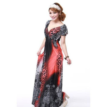 Red and Black Leopard Print Maxi Dress