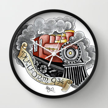 Harry Potter - Hogwarts Express train Wall Clock by Cortney Palmer Art | Society6