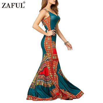 ZAFUL Woman Bodycon Dresses Ethnic Hippie Bohemian Tribe Print Sleeveless Sheath Long Maxi Tank Dress Party Club Female Vestidos