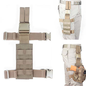 Military Tactical Molle Holsters Drop Leg Thigh Load Bearing Platform Airsoftsports Hunting Gear