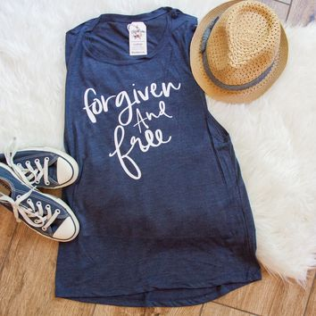 Forgiven and Free Ladies Muscle Tank