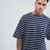boohooMAN Oversized T-Shirt In Navy Stripe at asos.com