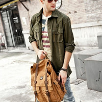 MULTI-POCKET CANVAS & LEATHER DURABLE SCHOOL BACKPACK