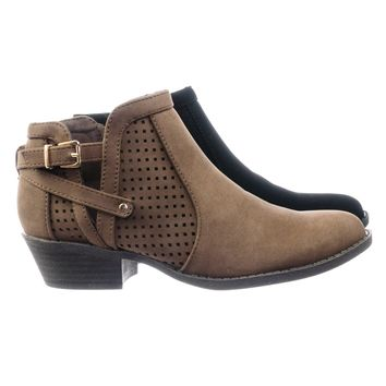 Chevy38 Block Heel Ankle Booties w Side Slit Open Buckle & Perforated Cut
