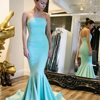 B| Chicloth Sexy Simple Strapless Mermaid Prom Dresses Court Train Party Dress