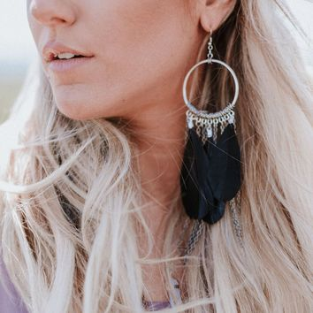 Lovebirds Feather Earrings - Black