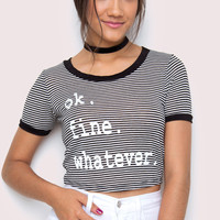 OK. Fine. Whatever Crop Top - Black