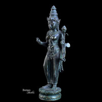 "Bronze Stunning Lakshmi 11""Hindu Goddess Of Wealth; Happiness And Bliss. Lakshmi Statue Fine Home Decor"
