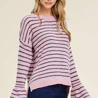Staccato Boat Neck Chenille Stripe Sweater - Rose Charcoal
