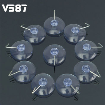 Transparent Metal Vacuum Sucker Hooks Hanger Strong Suction Cup Bathroom Kitchen Window Stainless Steel Wall Accessorie 10Pcs