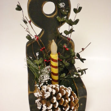 Wood Candle Holder Lighted Arrangement, Primitive Country Christmas Lighted Decor