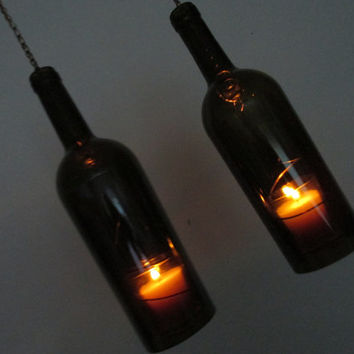 Two Upcycled Wine bottle hurricane candle holder,  outdoor lighting, Recycled bottle Art, Hanging hurricane lamp