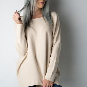 Natural Long Sleeve Sweater with Criss Cross Back