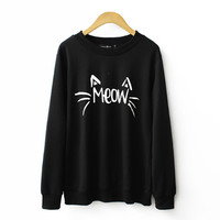 Black Meow Print Loose Sweatshirt