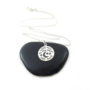 Love You to the Moon and Back Necklace - 925 Sterling Silver Jewelry