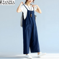 M-5XL ZANZEA Womens Wide Leg Loose Sleeveless Strappy Summer Overalls Casual Pockets Long Harem Pants Romper Jumpsuit Trousers