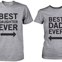Dad and Daughter Matching Graphic Gray T-shirts Set - Best Dad / Best Daughter