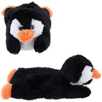 Wishpets Adult Medium Black Penguin Slippers