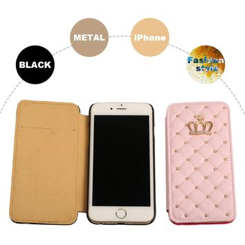 Full Protect Case VintageLuxury Sweet Pink Case For iPhone 6 6S Crown Grid Cover For iPhone 6s plus PU Leather Flip Phone Cases