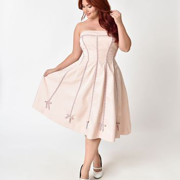 Unique Vintage Plus Size 1940s Style Blush Pink Strapless Ribbon Della Swing Dress & Bolero