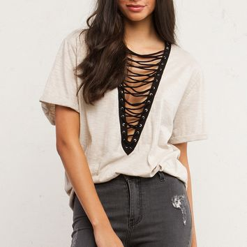 Deep V Lace Up Tops