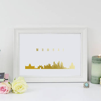 Mumbai Print, Mumbai Skyline, Mumbai Cityscape, Skyline Art, Real Gold Foil Print, Home Decor, Bombay, India Skyline, Gold India Print, 8x10
