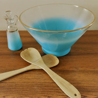 Aqua Blendo Salad Bowl, Mid Century Turquoise Ombre Salad Bowl, Aqua Frosted Glass Salad Bowl, Anchor Hocking Ombre Salad Bowl & Cruet