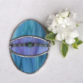 Stained Glass Easter Egg Suncatcher  Blue by GreenhouseGlassworks
