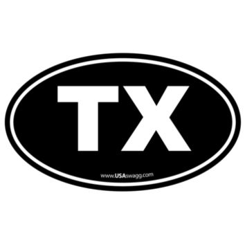 Texas TX Euro Oval Sticker BLACK
