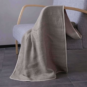 4 Sizes Honeycomb Organic French Linen Throw Blanket in Grey or Ivory Colors