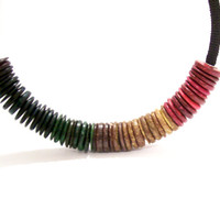 Multicolour Stripe Necklace, Stacked Rondelles Choker Dark Rainbow Version