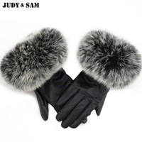 Warm Winter Quality Ladies Genuine Sheepskin Black Leather Gloves With Real Natural Fluffy Fox or Raccoon Fur Hood