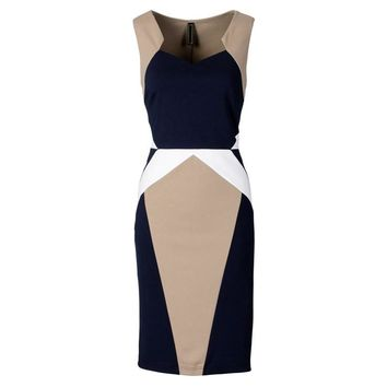 Womens Elegant Optical Illusion Colorblock Contrast Modest Slim Work Business Casual Party Sheath Pencil Dress