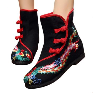 Fashion Online Vintage Beijing Cloth Shoes Embroidered Boots 12-03  Black 35