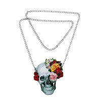 Flower Rose Skull Skeleton Wood Acrylic Pendant Chain Necklace Jewelry Gift QW
