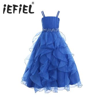 iEFiEL Kids Girls Embroidered Flower Bow Formal Party Ball Gown Prom Princess Bridesmaid Wedding Children Tutu Dress Size 4-14Y