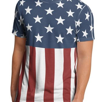 Stars and Stripes American Flag Men's Sub Tee Dual Sided All Over Print T-Shirt by TooLoud