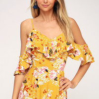 Golden Hours Mustard Yellow Floral Print Off-the-Shoulder Romper