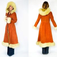rust SIENNA boho hippie SHEARLING suede hooded princess MAXI jacket coat, medium-large