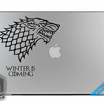Game of Thrones GOT Inspired House Stark Winter is Coming Art Vinyl Decal Sticker for Apple MacBook Dell HP Alienware Asus Acer or Any Laptop Notebook PC Computer