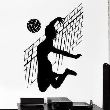 Wall Stcker Sport Volleyball Net Ball Woman Fitness Female Vinyl Decal Unique Gift (z3064)